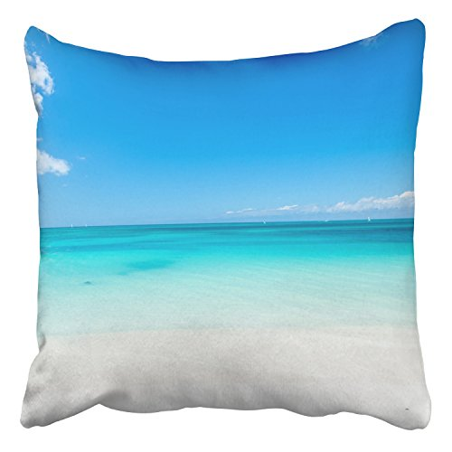 Emvency Throw Pillow Covers Beautiful Marine View On Caribbean Sea Coast Line Clean Wavy Surf Ocean Decor Pillowcases Polyester 20 X 20 Inch Square Hidden Zipper Home Cushion Decorative Pillowcase - Caribbean Pillowcase