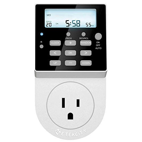 Etekcity Light Timer Outlet, Heavy Duty, 7 Day Timer, 20 Programmable  Settings, Digital Switch with Backlight and Surge Protection, 15A/1800W,ETL