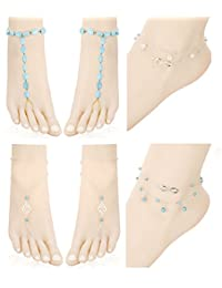 Jstyle Beach Anklets for Women Girls Multiple Layered Boho Silver Chain Anklet Bracelets Turquoise Infinite Pearl Charm Anklets Foot Jewelry Barefoot Sandals