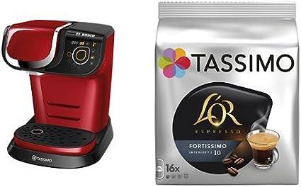 Bosch TAS6003 Tassimo My Way (color rojo) + Pack café 5 paquetes (80 cápsulas) Tassimo LOR Espresso Fortissimo: Amazon.es: Hogar