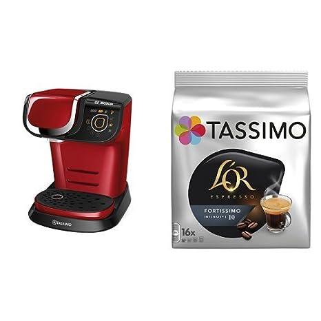 Bosch TAS6003 Tassimo My Way (color rojo) + Pack café 5 paquetes (80 cápsulas) Tassimo LOR Espresso Fortissimo