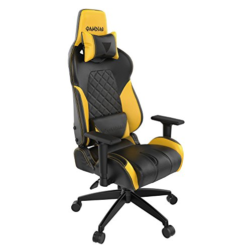 Gamdias Multi-color RGB Gaming Chair High Back Headrest and Lumbar Support Black and Yellow (ACHILLES E1) Gamdias