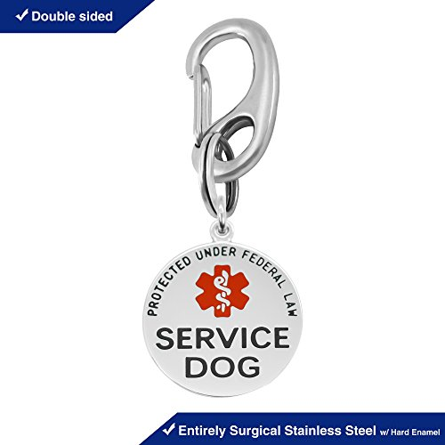 "Divoti Double Sided Service Dog Tag w/Red Medical Alert Symbol & Quick Clip – 1.25"" – Entirely Surgical Stainless Steel w/Hard Enamel - Symbol Dog Tag"