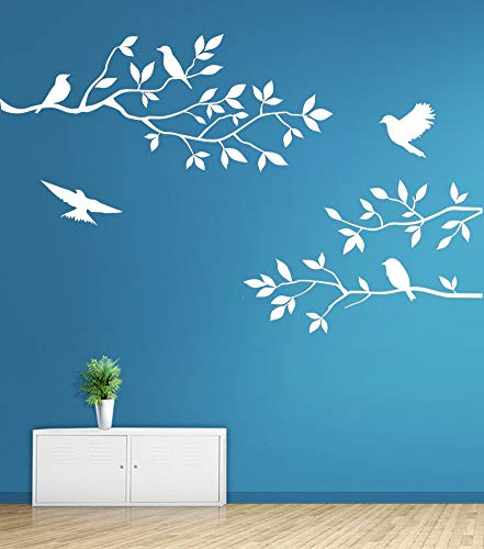 Mix Decor Branch Wall Decal - Birds Trees Wall Sticker Family TV Background Removable Vinyl Mural Wallpaper for Livingroom Kid Baby Nursery Room DIY Decoration Gift 28x20 Inch,White (White Tree And Bird Wall Decal)