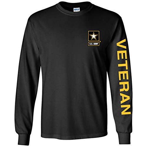 Officially Licensed United States Army Veteran Long Sleeve T-Shirt (Black, X-Large) (Best States For Veterans)