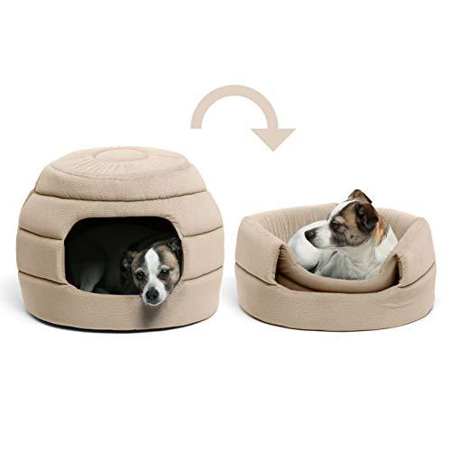 Honeycomb Dog - Best Friends by Sheri 2-in-1 Honeycomb Hut-Cuddler, Small, Wheat, Standard