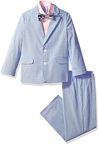 Nautica Little Boys' Suit Set With Jacket, Shirt, Pant, and Bow Tie, Bright Blue, 4T
