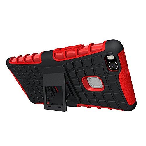 Huawei P9 lite Caja del telefono - SODIAL(R) Funda carcasa case para HUAWEI P9 Lite, Rojo