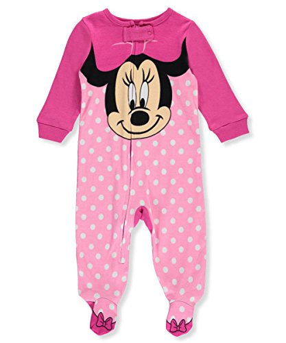 Disney Baby-Girls Infant Minnie Mouse Big Face Polka Dot One Piece Cotton Blanket Sleeper, Pink, 0-3 Months
