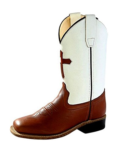 Old West Cowboy Boots Boys Girls Kid Cross 3 Child Brown White BSC1841 (Boots White Cross)