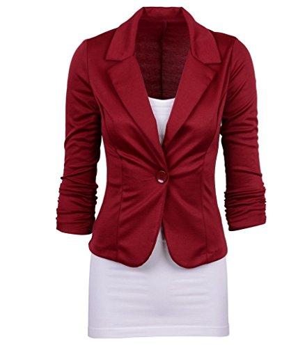 Smile YKK Tailleur Femme Chic Costume Veste Courte Manteau Manches Longues Bouton Amincissant Bordeaux