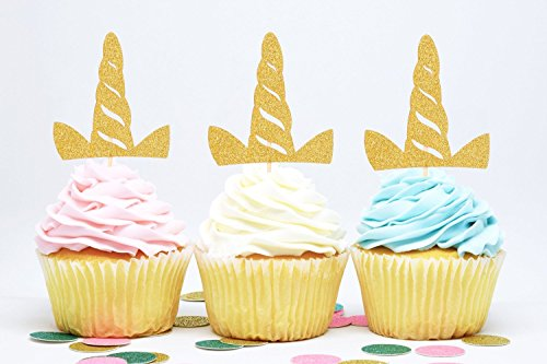 Price comparison product image 24 Pack Unicorn Party Cupcake Toppers Glitter Gold Unicorn Horn Shape Cake Decoration