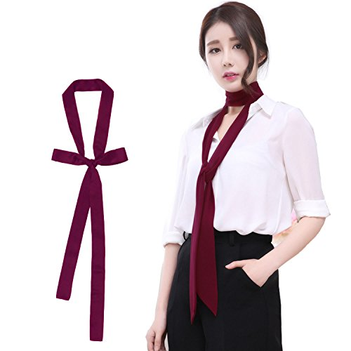 Women Skinny Scarf Long/Square NeckTies Scarf Fashion Soft Silky Skinny Thin Slim Solid Color Ribbon Belt(Wine)