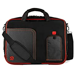 Carry and protect your laptop and accessories in style with this nylon carrying case.         Features accessory pockets for business cards, pens, stylus, and tablets/eReaders up to 8.5in X 9.5in in size.         This ultra lightweigh...