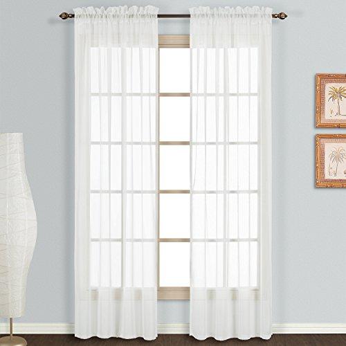 2 Pack: Basic Rod Pocket Sheer Voile Window Curtain Panels in White by GoodGram (84 in. Long)