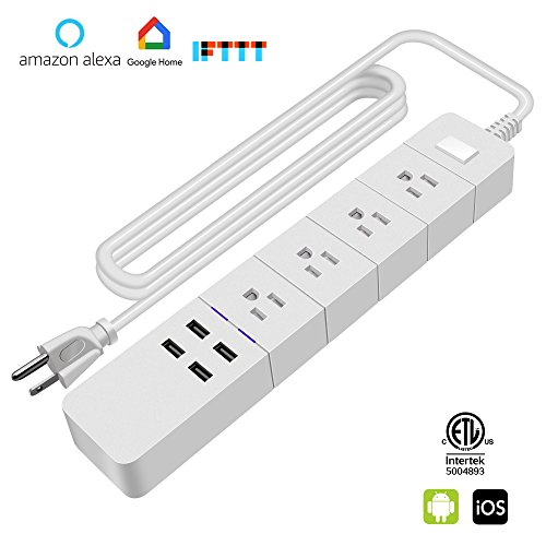 Price comparison product image WiFi Smart Power Strip Outlet, Hinotori Alexa Echo Plugs Surge Protector 4 AC Smart Outlets 4 USB Ports, Amazon Echo/Google Home Voice Control, Phone Remote Control, Timer Function, ETL Certified