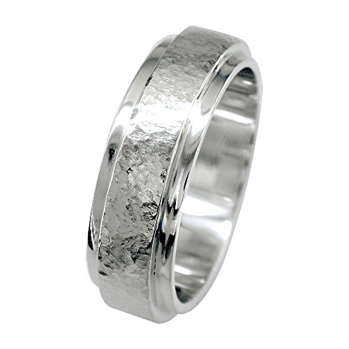 Mens Raised Hammered and Plain Wedding Band in 14K White Gold size 9