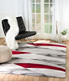 SUMMIT BY WHITE MOUNTAIN Rio 58-9S85-DKLC Summit 304 Grey Red Area Rug Modern Abstract Many Sizes Available (5′ x 7′.2″), 5′ x 7′.2″ For Sale
