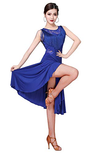 ZX Ballroom Dance Dresses for Women Fringed Lace Back Salsa Latin Dance Dress with Shorts (Tag M, Royal Blue) -