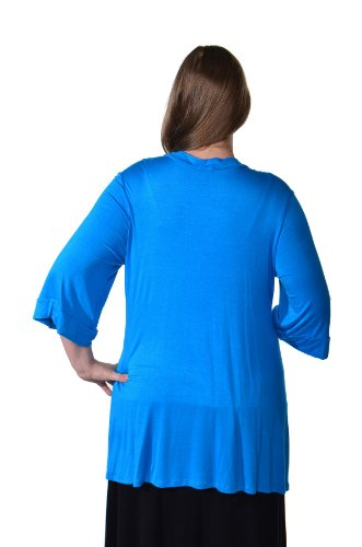 24/7 Comfort Apparel Plus Size Cardigan 3/4 Sleeve Open Neck Top for Womens Plus Size Clothing - Made in USA - 2XL (Turq) by 24/7 Comfort Apparel (Image #2)