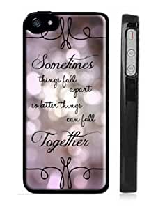 """Marilyn Monroe iPhone 5 5s Case - Lace iPhone Case - Black Snap on iPhone Cover - Quote iPhone Case Reads """"Sometimes things fall apart so better things can fall together"""