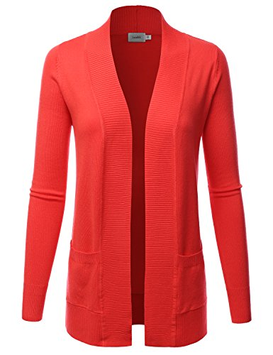 LALABEE Women's Open Front Pockets Knit Long Sleeve Sweater Cardigan-HOTCORAL-M ()