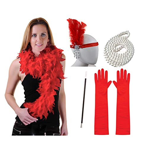1920s Gatsby Headband Necklace Gloves Cigarette Holder Flapper Costume Accessories Set for Women(Red)]()