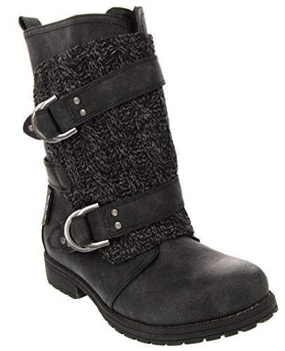 London Fog Womens Jupiter Winter Moto Boot with Cable Knit Overlay Black 8