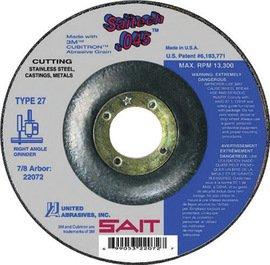 United Abrasives Wheel Cutting 4-1/2''X.045''X7/8'' Type 27 Ceramic Aluminum Oxide Saitech Depressed Center 13300Rpm -1 Box of 50