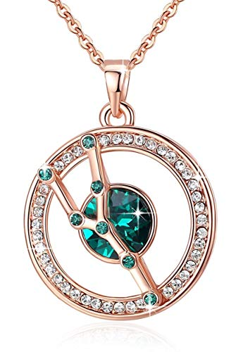 "Leafael ""Superstar Zodiac Constellation Pendant Necklace Made with Swarovski Crystal April May Birthstone Emerald Green Horoscope Jewelry, Taurus, 14k Rose Gold Plated, 18""+2"""
