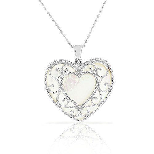 Sterling Silver Filigree Genuine Mother-of-Pearl Extra Large Love Heart Pendant Necklace