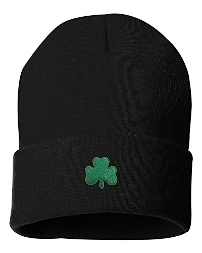 Patricks Day Knit Cap (One Size Black Adult Shamrock St. Patrick's Day Embroidered Cuffed Knit Beanie Cap)
