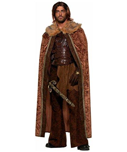 Long Warrior Medieval Costumes Wig (Fur Trimmed Cape Adult Costume Brown - Standard)