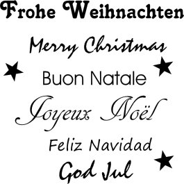Frohe Weihnachten Auf Allen Sprachen.Wandtattoo Frohe Weihnachten Merry Christmas In Schwarz