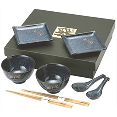 Happy Sales HSBH81-N,  8 pc Japanese Dinnerware set Dragonfly Blue