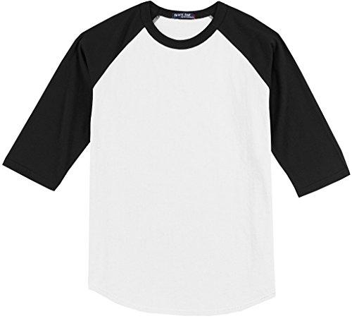 Sport-Tek Big Men's 3/4 Sleeve Raglan Baseball T-Shirt 4XL White/Black #590D