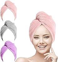 URAQT Haarturban Handtuch, 3 Stück Turban Haartrockentuch, Knopf Haarturban, Kopftuch Handtuch für Lange Haar,...