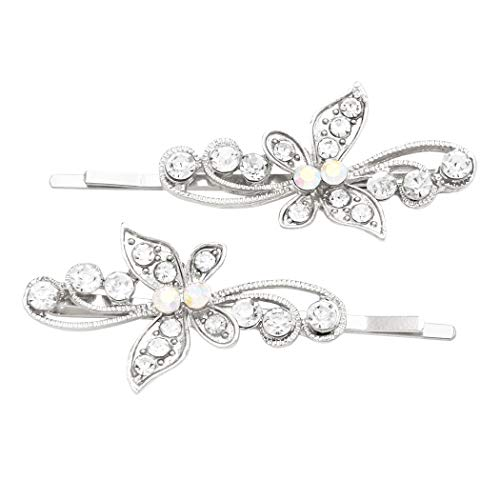 Rosemarie Collections Women's Hair Clip Crystal Butterfly Bobby Pins (Swirl Silver)