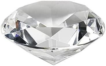 """Crystal Clear Faceted Diamond Shaped Paperweight Top Maybe Engraved Apx. 4"""" Diameter"""