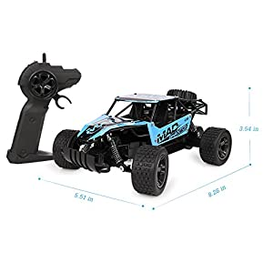 RC Cars, All Terrain Remote Control High-Speed Telecar, Offroad 2.4Ghz 2WD Remote Control Monster Truck, Best Christmas Gift for Kids and Adults(Blue)