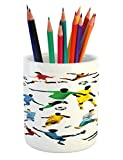Lunarable Boy's Room Pencil Pen Holder, Collection of Soccer Players in Different Positions Hitting the Ball Goal Win, Printed Ceramic Pencil Pen Holder for Desk Office Accessory, Multicolor