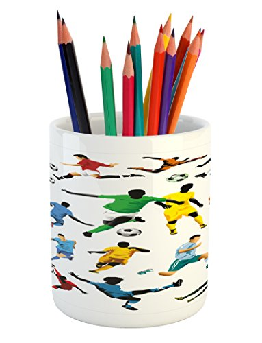 Lunarable Boy's Room Pencil Pen Holder, Collection of Soccer Players in Different Positions Hitting the Ball Goal Win, Printed Ceramic Pencil Pen Holder for Desk Office Accessory, Multicolor by Lunarable