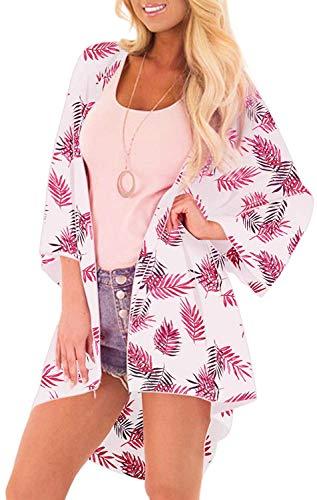 (Yonala Summer Womens Beach Wear Cover up Swimwear Beachwear Bikini Cardigan (One Size, 1-Pink))