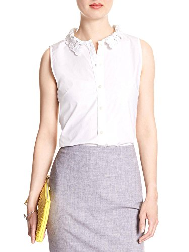 Banana Republic Women's Lace Collar Sleeveless Tailored Fit Bloue White