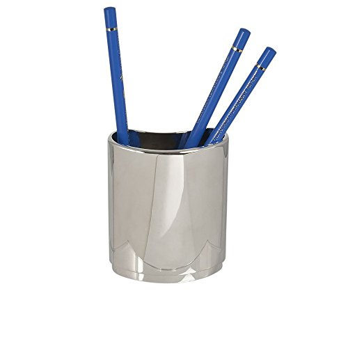 Pencil/Pen Holder Silver Plated, Pen & Pencil Holder Desk Organizer, Office Desk Accessories, Pencil Cup Holder Pen Stand of Desktop (Silver Plated Pen Stand)