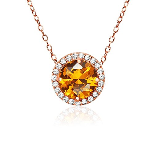 Gold Round Citrine Pendant (Rose Gold Flashed Sterling Silver Simulated Citrine and Cubic Zirconia Round Halo Necklace)