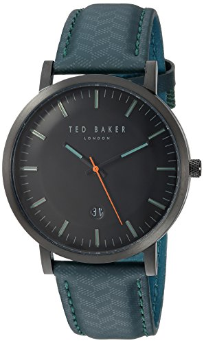 Ted Baker Round Dial (Ted Baker Men's 'DAVID' Quartz Stainless Steel and Leather Casual Watch, Color:Green (Model: TE15193003))