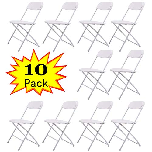 LAZYMOON 10-Pack White Plastic Folding Chair Commercial Quality Stackable Outdoor Event Chair