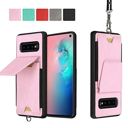 JISON21 Samsung Galaxy S10 Card Holder Case Lanyard Leather Phone Wallet Case with Stand Folio Leather Cases for Samsung Galaxy S10 6.1 inch (Pink)