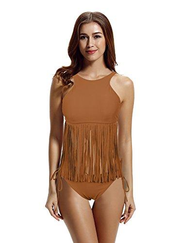 zeraca Women's 2 Pieces Plus Size Fringe Swimsuits Swimwear (XL18, Kona - Swimwear Kona